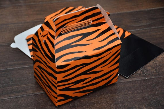 Animal Print Safari Themed Tiger Print Favor Boxes / Treat Boxes / Gift Boxes