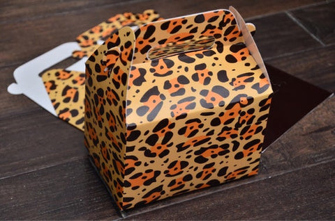 Animal Print Safari Themed Leopard Print Favor Boxes / Treat Boxes / Gift Boxes