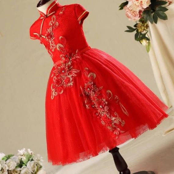 Red Floral Chinese Cheongsam Tutu Dress for Girls