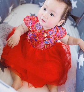 Chinese Phoenix Cheongsam Tutu Dress for Baby Girl Toddler