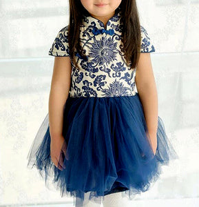 Navy Blue Chinese Floral Pattern Cheongsam Tutu Dress for Girls
