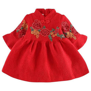 Red Floral Lace Cheongsam Fleece Thermal Dress for Girls