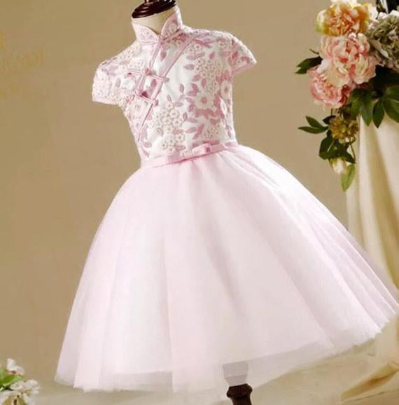 Pink Cheongsam Tutu Dress for Girls