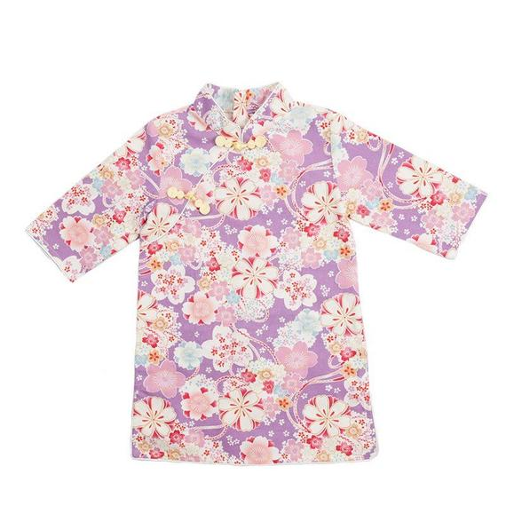 Light Purple Cherry Blossom Cheongsam Dress for Girls