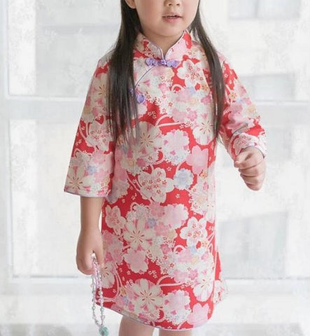 Red Cherry Blossom Cheongsam Dress for Girls