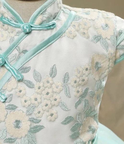 Mint Green Cheongsam Tutu Dress for Girls