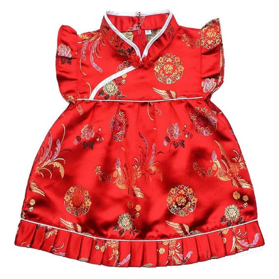 Chinese Phoenix Cheongsam for Baby Girl Toddler