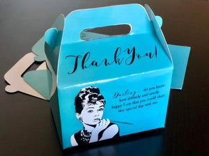 Audrey Hepburn Breakfast at Tiffany's Bridal Shower Favor Boxes / Treat Boxes / Gift Boxes