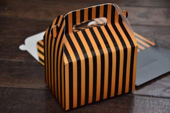 Black and Gold Art Deco Stripe Favor Boxes / Treat Boxes / Gift Boxes