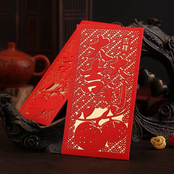 Assorted Chinese New Year 2021 Year of the Ox Laser Cut Red Envelopes