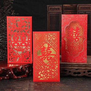 Assorted Chinese Wedding Double Happiness Laser Cut Red Envelopes
