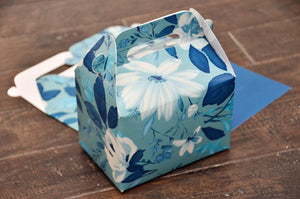 Turquoise Emerald White Floral Pattern Favor Boxes / Treat Boxes / Gift Boxes