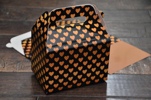 Valentine's Day Black and Gold Art Deco Heart Pattern Wedding Favor Boxes / Treat Boxes / Gift Boxes