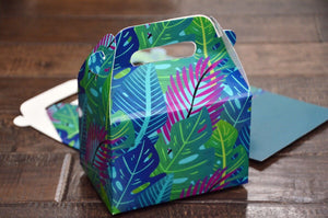 Green Palm Leaf Pattern Favor Boxes / Treat Boxes / Gift Boxes