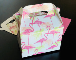 Pink Flamingo Pattern Favor Boxes / Treat Boxes / Gift Boxes