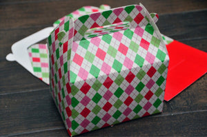 Red Pink Green Argyle Pattern Christmas Favor Boxes / Treat Boxes / Gift Boxes