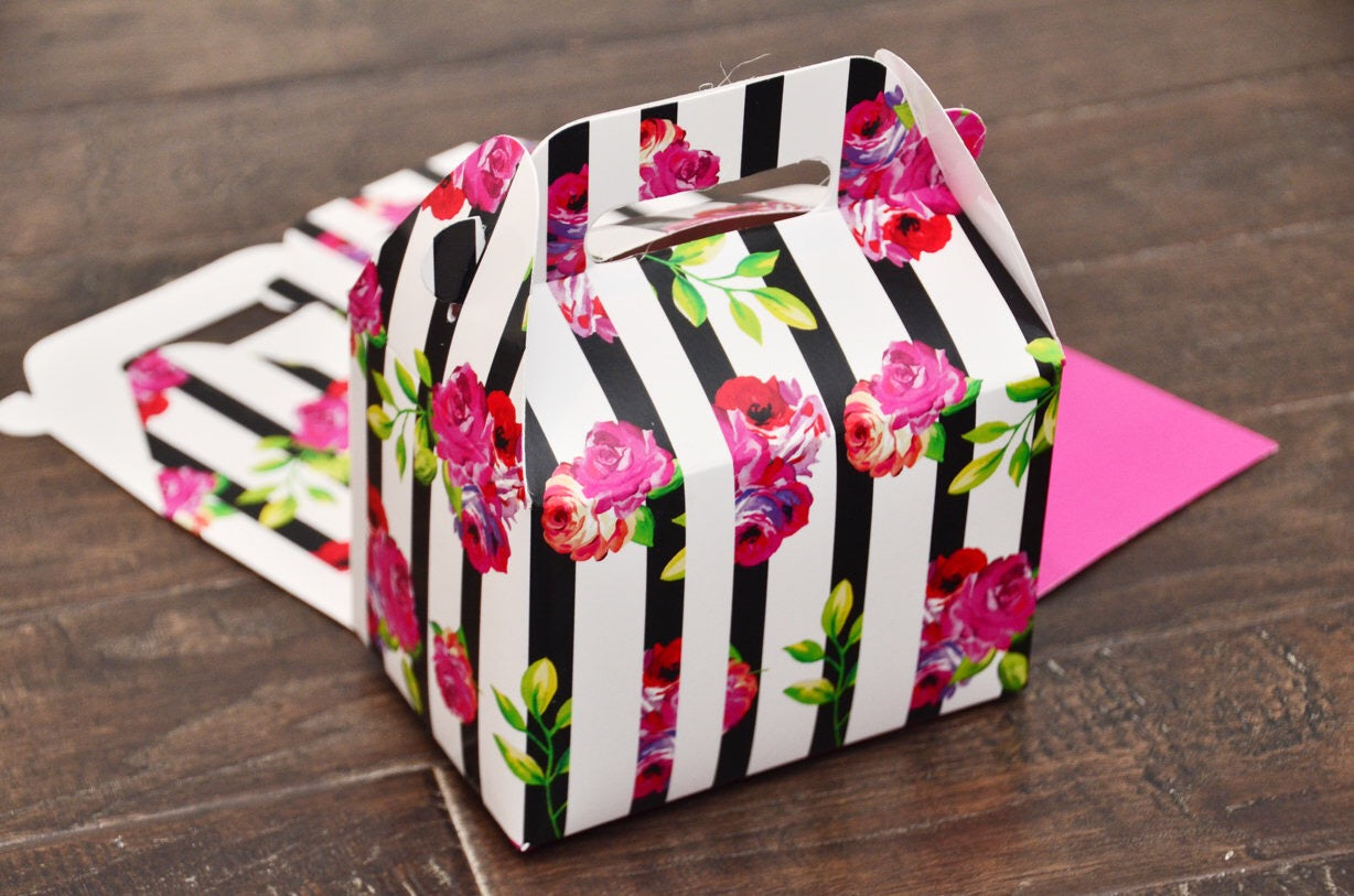 Kate Spade Black Stripe Pink Floral Rose Favor Boxes / Treat Boxes / Gift Boxes
