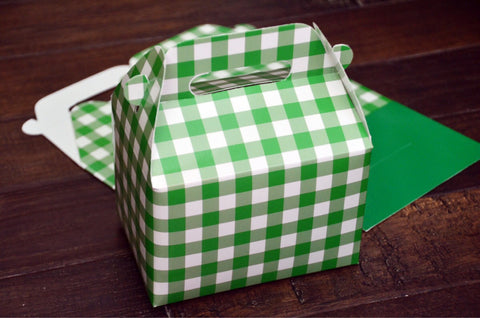 Green Checkerboard Plaid Christmas Favor Boxes / Treat Boxes / Gift Boxes