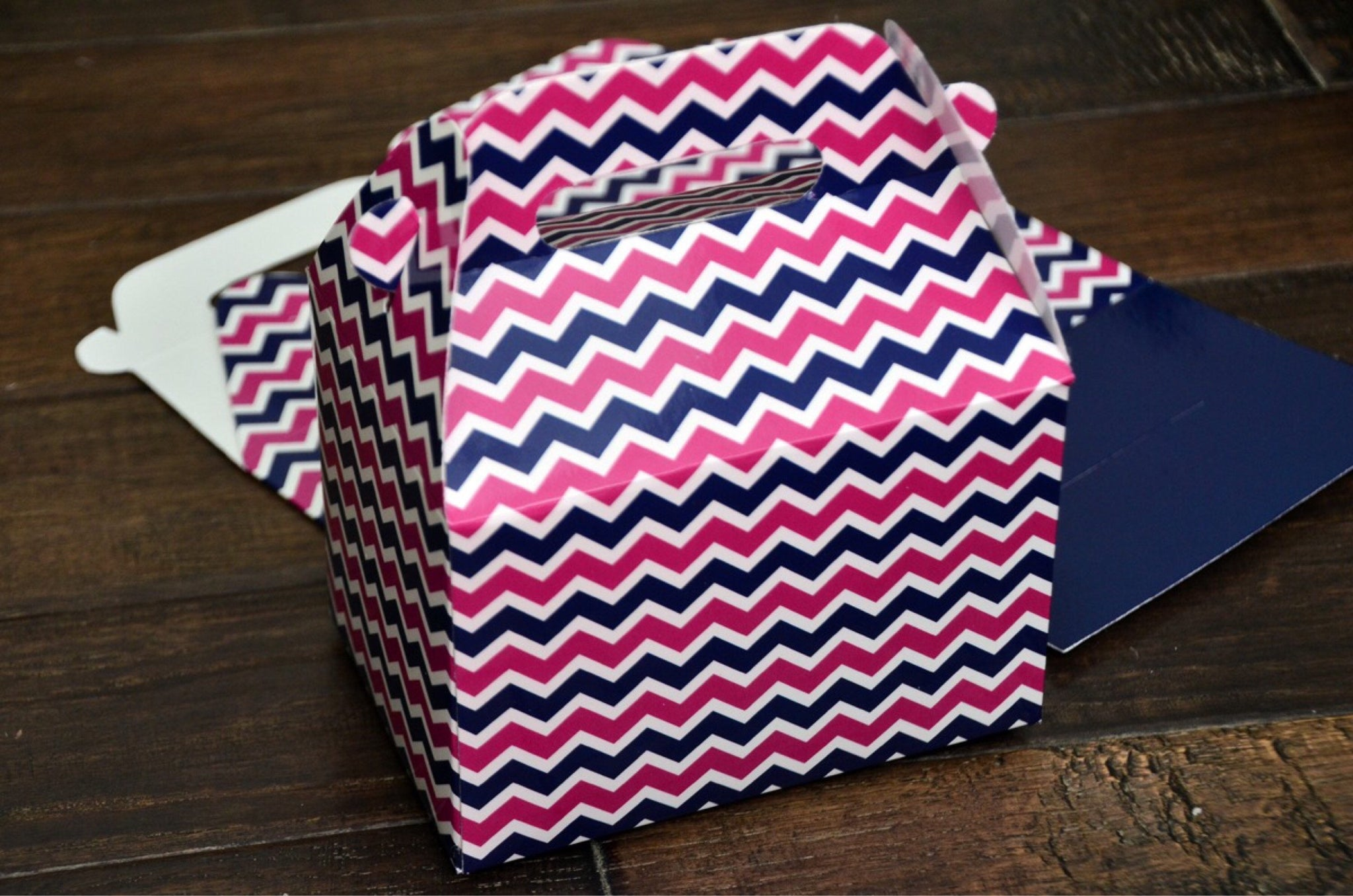 Navy Blue and Pink Chevron Stripe Favor Boxes / Treat Boxes / Gift Boxes