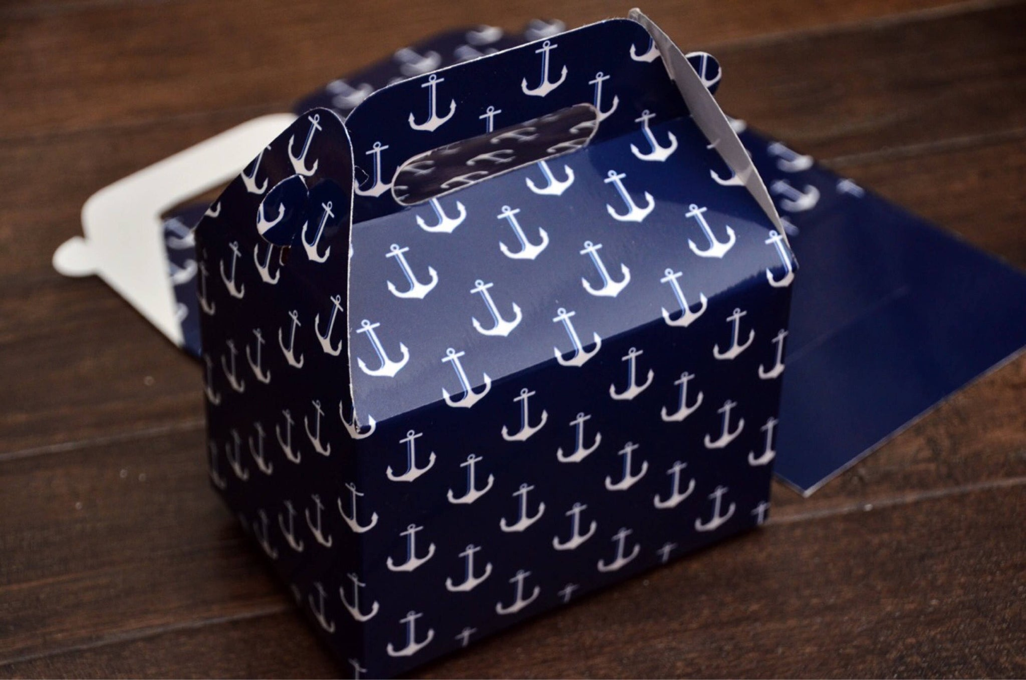 Navy Nautical Anchor Pattern Favor Boxes / Treat Boxes / Gift Boxes