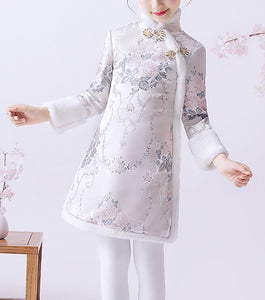 Thermal Chinese Floral Cheongsam Dress for Girls