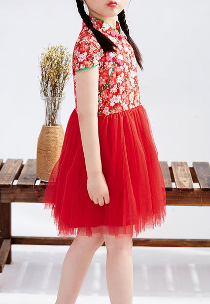 Red Cherry Blossom Cheongsam Tutu Dress for Girls