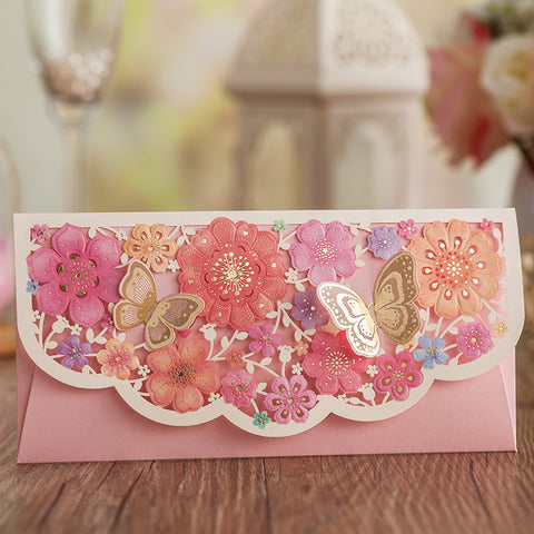 Pastel Colored Floral Butterfly Laser Cut Money Envelopes