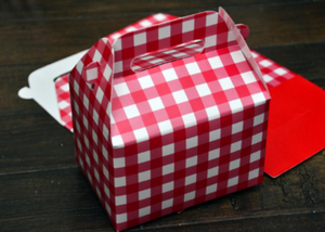 Red Checkerboard Plaid / Red Riding Hood / Christmas Favor Boxes / Treat Boxes / Gift Boxes
