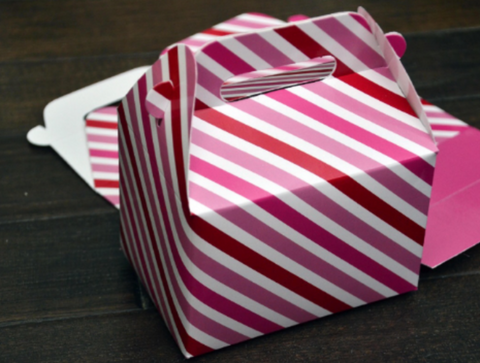 Red and Pink Stripe Christmas Favor Boxes / Treat Boxes / Gift Boxes