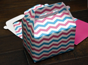 Baby Pink Blue Chevron Stripe Favor Boxes / Treat Boxes / Gift Boxes