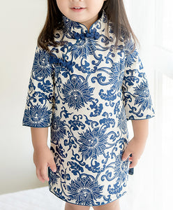 Navy Blue Chinese Floral Pattern Cheongsam Dress for Girls