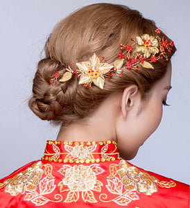 Chinese Wedding Red Floral Bridal Barrettes / Hair Clips