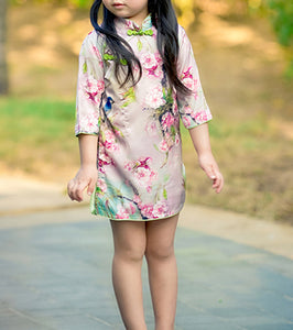 Chinese Floral & Bird Cheongsam Dress for Girls