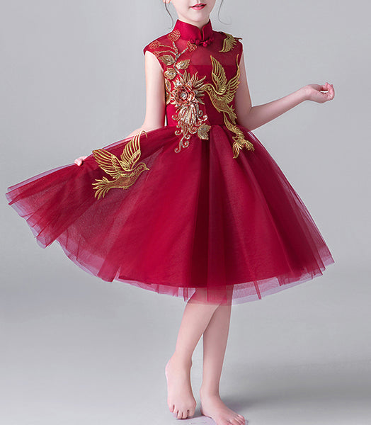 Red Wine Floral  Bird Chinese Cheongsam Tutu Dress for Girls