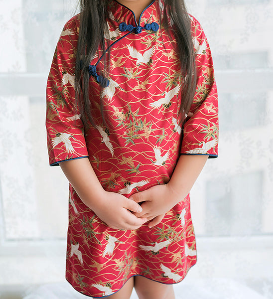 Chinese Crane Red Wine Cheongsam Dress for Girls