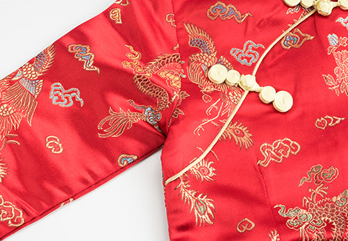 Chinese Dragon and Phoenix Red Cheongsam Dress for Girls