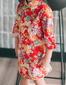 Chinese Crane Floral Pattern Cheongsam Dress for Girls