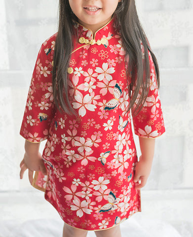 Cherry Blossom Butterfly Cheongsam Dress for Girls