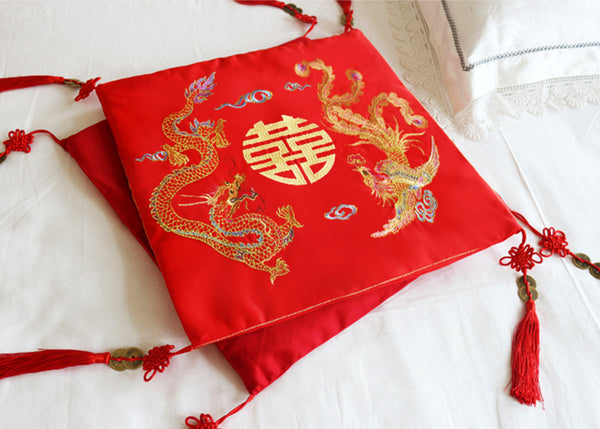 Chinese Wedding Double Happiness Kneeling Cushions for Chinese Tea Ceremony