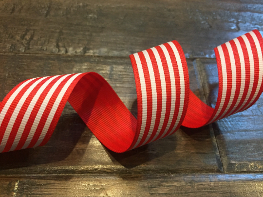 Red / Black Stripe Grosgrain Ribbon