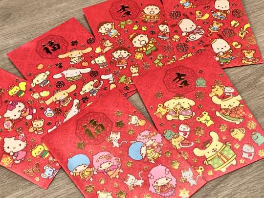 Assorted Sanrio Hello Kitty Red Money Envelopes / Hong Bao / Ang Pao / Red Packets