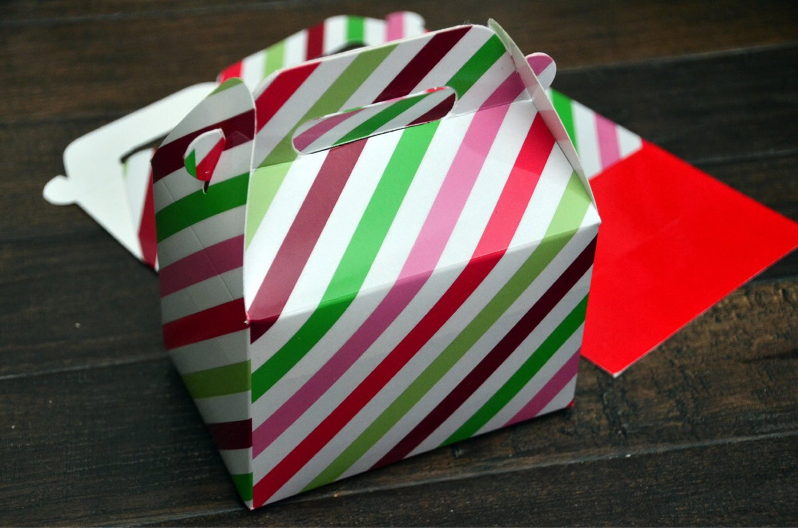 Red Pink Green Stripe Christmas Favor Boxes / Treat Boxes / Gift Boxes