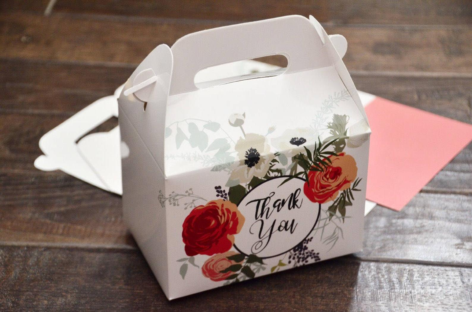Thanksgiving Thank You Floral Favor Boxes / Treat Boxes / Gift Boxes