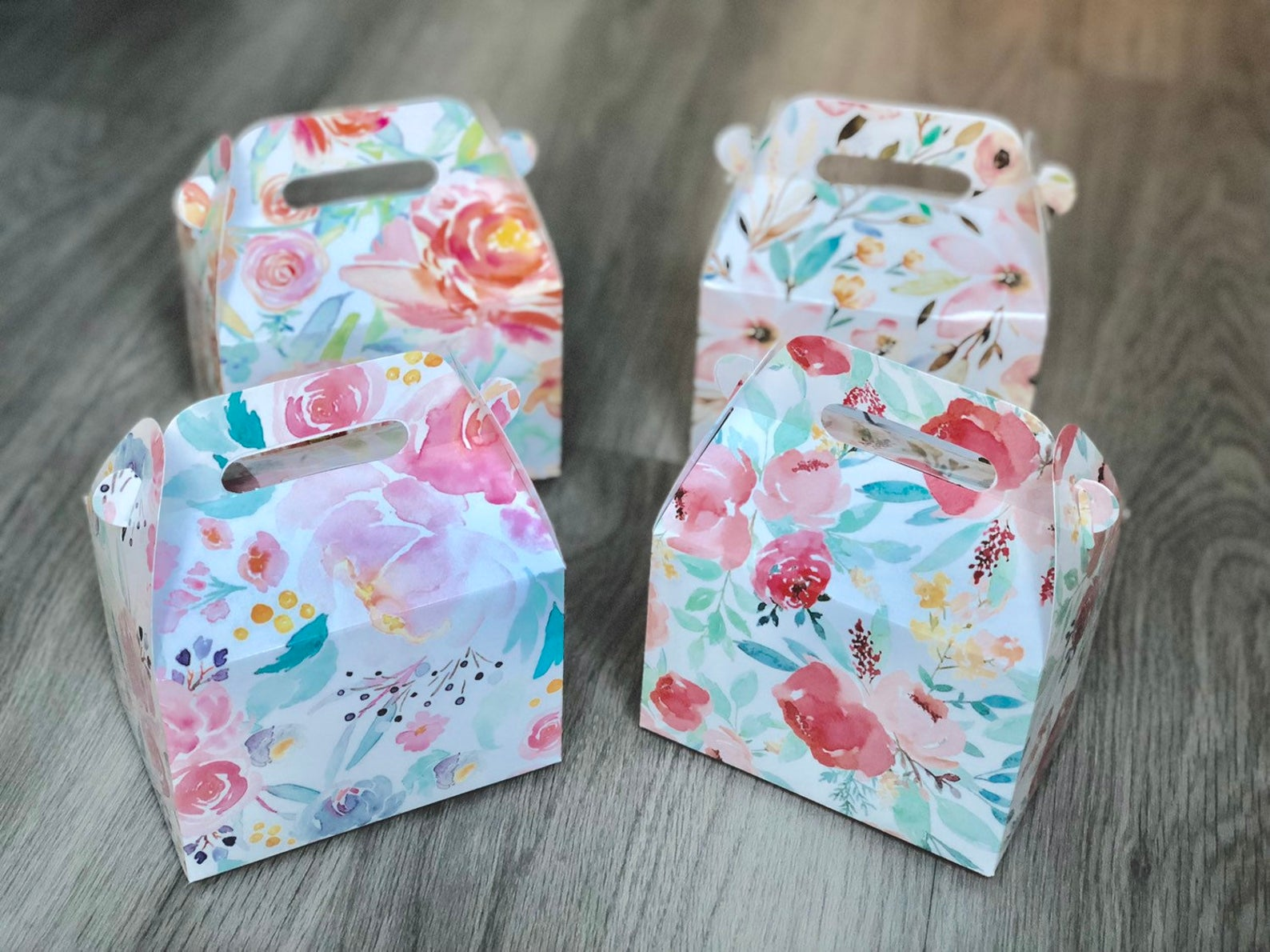 Assorted Watercolor Floral Favor Boxes / Treat Boxes / Gift Boxes