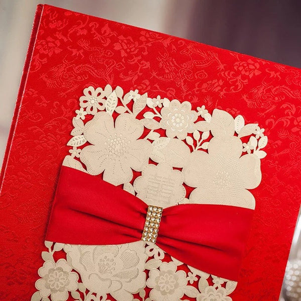 Chinese Wedding Double Happiness Silk Guestbook With Jeweled Ribbon Bow