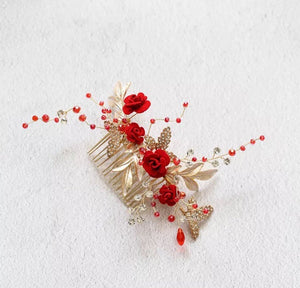 Chinese Wedding Red Rose Bridal Hair Comb / Hair Piece