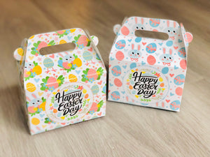Rabbit Bunny Happy Easter Day Favor Boxes / Treat Boxes / Gift Boxes / Gable Boxes