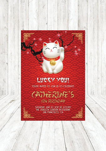 Printable Chinese Lucky Fortune Cat Birthday Party Invitation