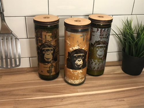 Dry Goods Storage  I  Repurposed Wine Bottle I  Infinite Monkey Theorem