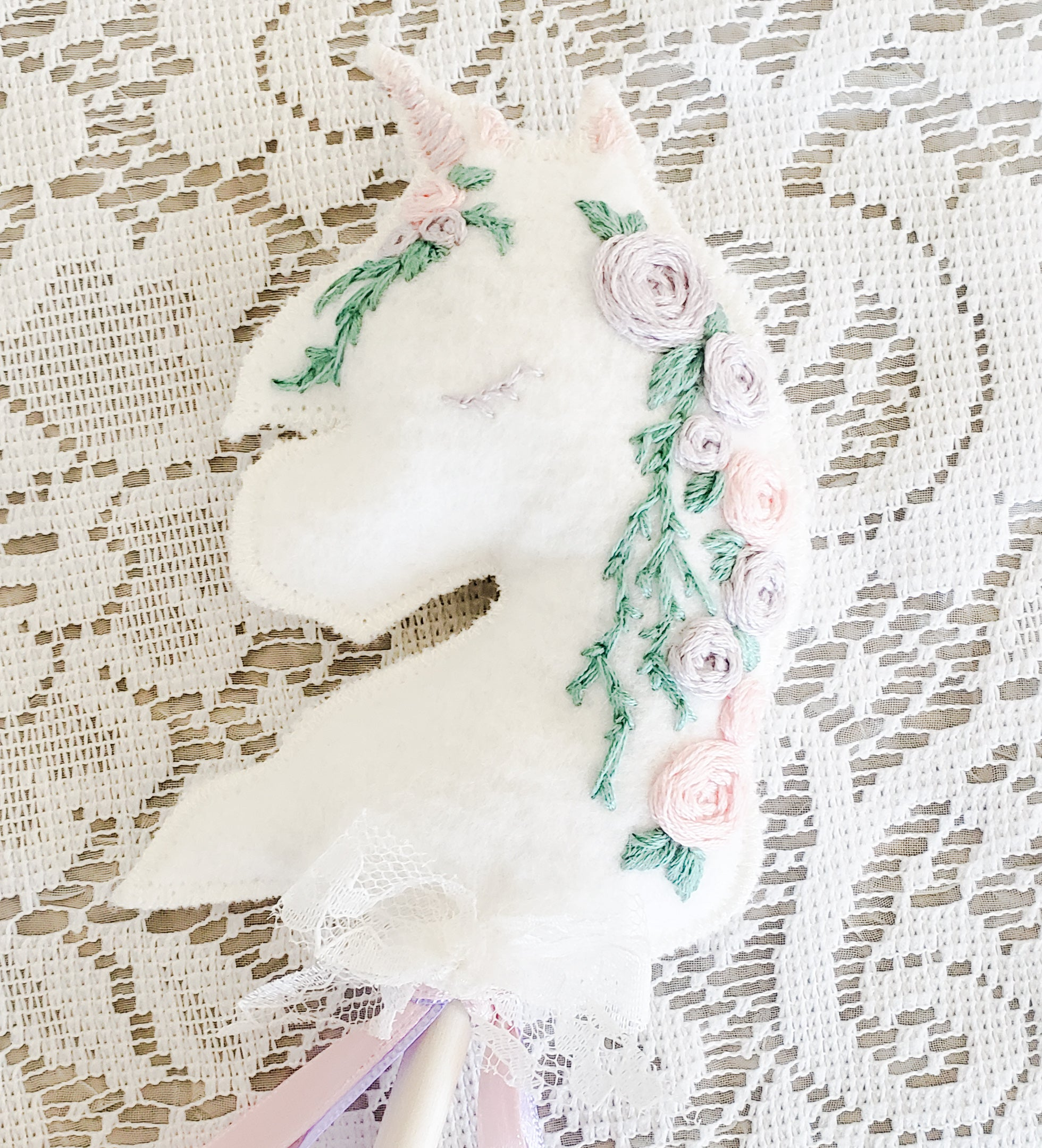 Embroidered Heirloom Unicorn (MADE TO ORDER)